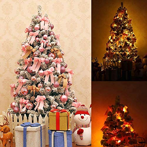 ZLJ 6.8FT Artificial Flocked Snow Christmas Tree 200 Hinged Branches Christmas Tree Lighted with Warm White LED Lights and Metal Stand Perfect Holiday Decoration