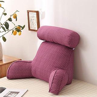 En cuña Juego de almohadas, Respaldo Salón Cojín para adultos, lectura y reposo en cama Almohada con brazo de apoyo, trasera de la ayuda para la lectura del juego relajante, 75x40x40cm,Púrpura
