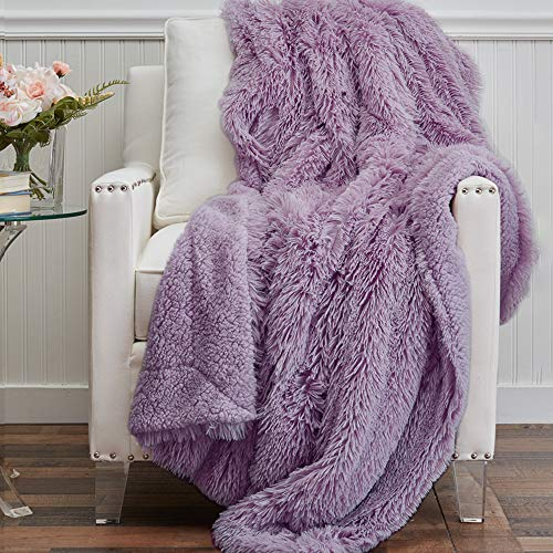 The Connecticut Home Company Soft FluffyShagBed Throw Blanket, Luxury Sherpa Reversible Blankets, Comfy Plush Washable Accent Throws for Sofa, Beds, Couch, Fuzzy Home Bedroom Decor,65x50, Purple