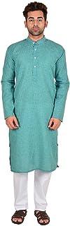 Craftscity Plain Cotton Linen Long Kurta With Pyjama Set For Men