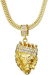 Hip Hop Jewelry Figaro Punk Style 18K Gold Plated King Lion Pendant Necklace