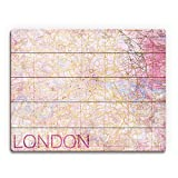 City of London - Rose Pink Distressed Vintage Map of Downtown London England Wall Art Print on Wood