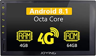 JOYING Car Radio Android 8.1 4GB + 64GB 7 inch Double Din LCD Touchscreen GPS Navigation with 4G SIM Card Slot - Support Android Auto/DSP/SPDIF/Fast Boot/Split Screen