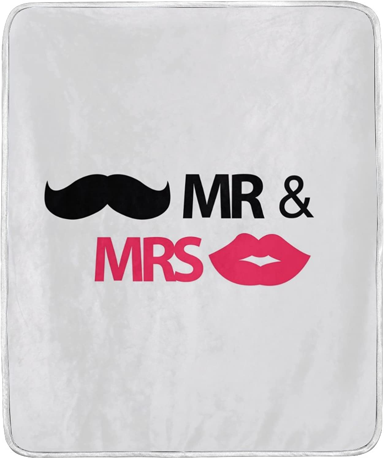 ALIREA Mr. and Mrs. with Mustache Lips Super Soft Warm Blanket Lightweight Throw Blankets for Bed Couch Sofa Travelling Camping 60 x 50 Inch for Kids Boys Girls