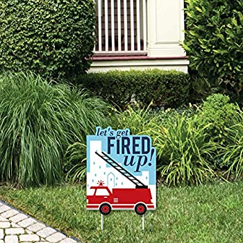 Big Dot of Happiness Fired Up Fire Truck - Outdoor Lawn Sign - Firefighter Firetruck Baby Shower or Birthday Party Yard Sign - 1 Piece