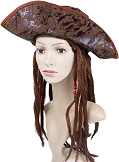 Amosfun Pirate Hat with Dreadlocks Pirate Costume Hat for Halloween Cosplay Party Festive Costume Accessories