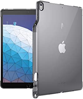 Poetic iPad Air 3 Case (10.5 Inch, 2019), iPad Pro 10.5 Case, Flexible Soft Transparent TPU Clear Back Cover with Pencil Holder, Compatible with Apple Smart Keyboard and Smart Cover, Lumos, Gray