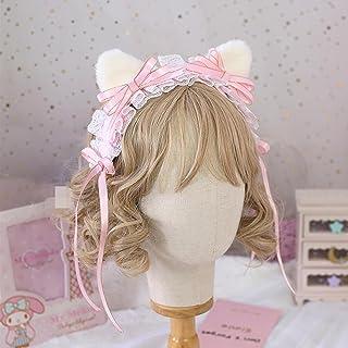 Kuroobaa 猫耳 ねこ耳 ロリータ ヘッドドレス カチューシャ 3WAY 髪飾り ヘアアクセサリー コスプレ コスチューム (ピンク)