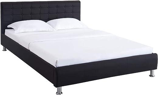 CARO-Möbel Polsterbett Cannes in schwarz Einzelbett Doppelbett 140 x 200 cm mit Lattenrahmen
