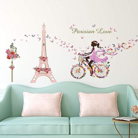 Ufengke Adesivi Murali Ragazza Bicicletta Adesivi Muro Fiori Torre Eiffel Per Camera Da Letto Bambini Soggiorno Asilo Nido Decorazioni Parete Amazon It Casa E Cucina
