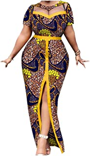 African Split Dresses for Women Wax Prints Fabric Cotton Clothing