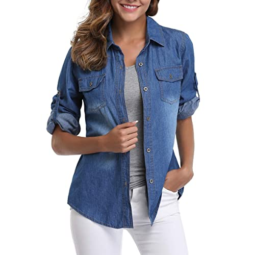 af6f232799b MISS MOLY Denim Shirt Women Washed Rolled Long Sleeve Point Collar Tops w 2  Chest Flap
