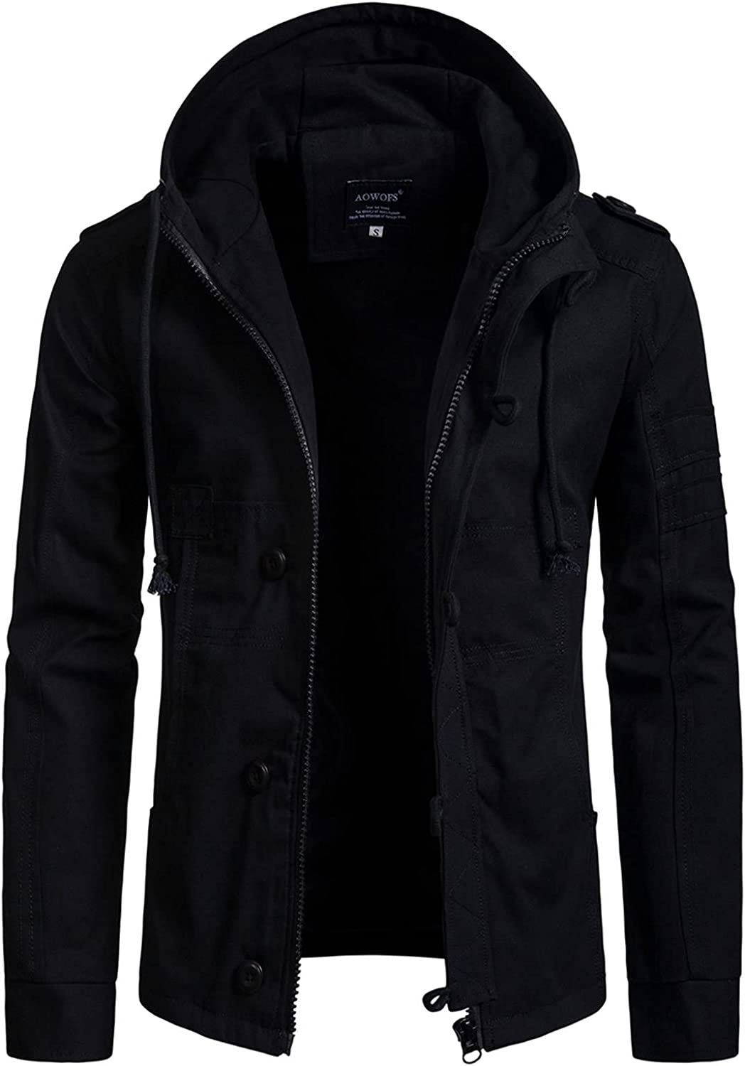 Men's Military Hooded Jackets,Solid Color Long-Sleeved Cardigan Jacket,for Casual Wear for Teenagers