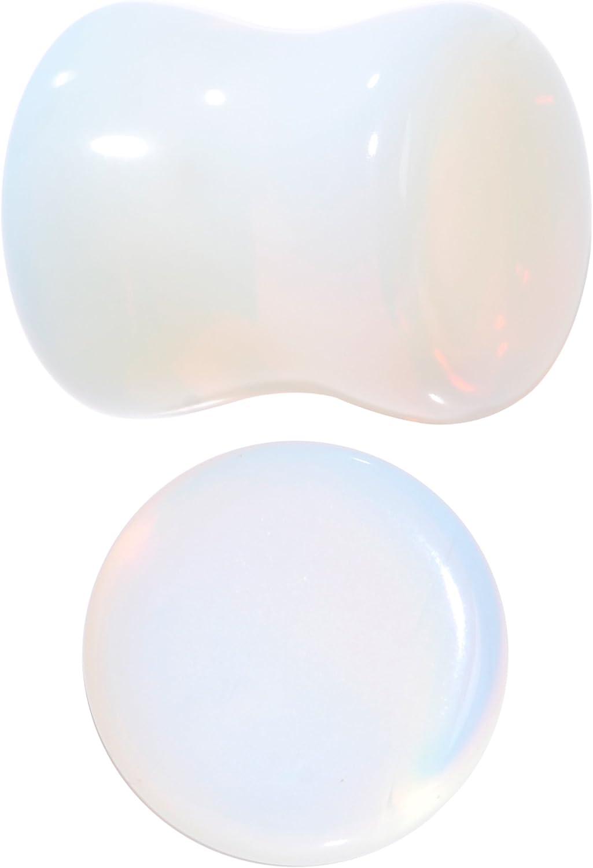 Body Candy Iridescent White Natural Stone Saddle Plug Set of 2 00 Gauge
