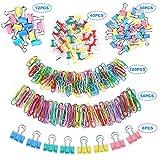 Pinces à Papier, Sopito 260 pièces Ensemble de clips de bureau colorés avec Foldback Pinces Papier Trombones Punaises pour fournitures de bureau et scolaires, tailles variées