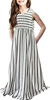 Girl's Summer Short Sleeve Stripe Holiday Dress Maxi Dress with Pocket Size 3-16T,Long Sleeve has Arrived