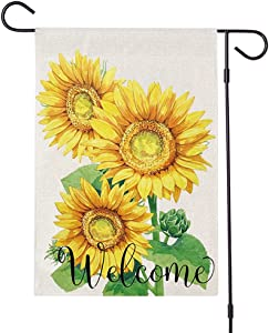 Sunflower Flag Burlap Welcome Summer Garden Flags 12x18 Double Sided Small Yard Flags for Outside Farmhouse Banner Decorations