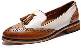 Mona flying Women`s Leather Penny Loafers Slip On Flats Office Ladies Casual Shoes