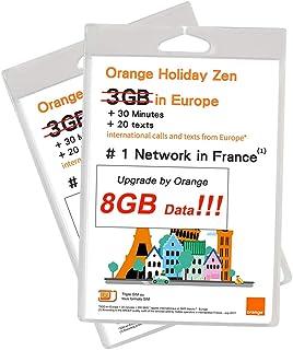 Orange Holiday ヨーロッパ - プリペイドSIMカード ー 4G通信 8GB 30分 SMS 200通 (8GB) (8GB*2)