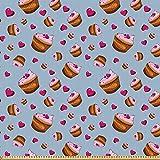 ABAKUHAUS Cupcake Stoff als Meterware, Valentines Day Theme