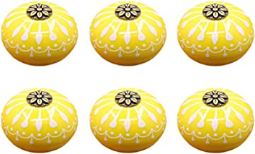 YARNOW 6 Stks Vintage Keramische Knoppen Kast Kast Deurknoppen Ronde Pompoen Knoppen Decoratieve Ladehandvat Trekt Met Sch...
