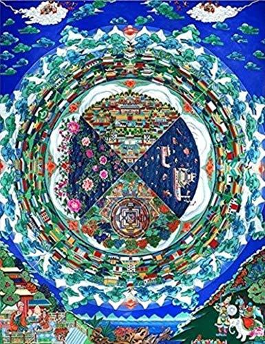 Arte chino de desplazamiento Tíbetanos sin marca Three Worlds India Chinese Religion Style Lienzo Imprimir Pintura Poster Art Wall Pictures para Pasillo Feng Shui Pinturas listas para colgar para el h