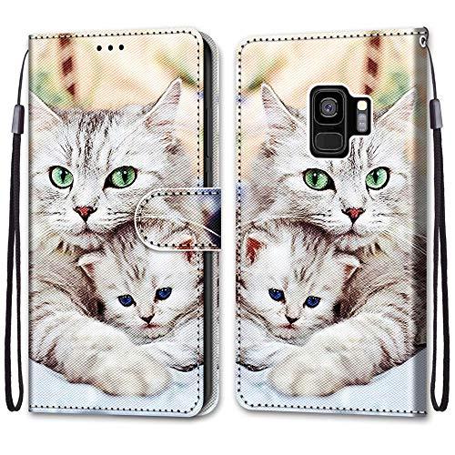 JMTALL Compatible con Samsung Galaxy S9 Plus Funda de piel sintética con tapa para teléfono celular, con tarjetero y cierre magnético, protección a prueba de golpes para Galaxy S9 Plus