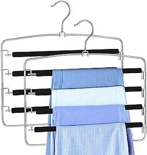 ZriEy Pantalons Cintres Multicouches Anti-Glisse Garde-Robe Organisateur de Rangement pour Jeans Pantalons Foulard Jupes P...