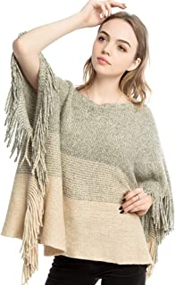 Womens Knitted Poncho Shawl Sweaters with Fringed Sides Oversized Pullover Tops Cape Coat