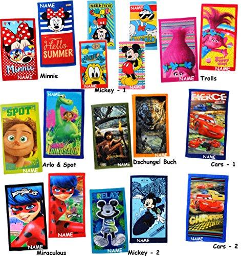 alles-meine.de GmbH Badetuch / Strandtuch - Disney Minnie Mouse  - 100 % Baumwolle - incl. Name - 100 % Baumwolle - Handtuch für Kinder - 70 cm * 140 cm - Frottee / Velours - Mä..