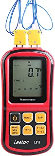 Leaton Digital Thermocouple Thermometer Dual-channel LCD Backlight Temperature Meter Tester for K/J/T/E/R/S/N Great (Batteries included)