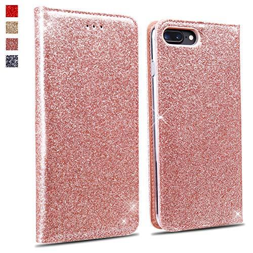 OKZone Cover iPhone 8 Plus/iPhone 7 Plus, Custodia Lucciante con Glitters Design Flip Caso in Pelle PU con Interno TPU Protettiva Cover per Apple iPhone 8 Plus/iPhone 7 Plus (Oro Rosa)