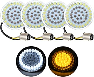 Amazicha 4pcs White Amber 1157 Bullet Style 2 inches Front LED Turn Signal Running Light Kit Compatible for Harley