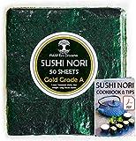 Nori Sushi Fogli di Alghe - 50 fogli interi, 125g [cotto al forno maggio 2020], grado superiore (oro), direttamente dalla fattoria di famiglia in Corea del Sud (sapore ricco)