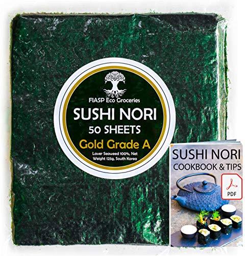 Hojas de algas marinas Sushi Nori - Granja familiar de Corea del Sur (50 hojas completas) Grado superior (oro), libro electrónico Nori, tostado y umami