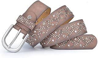 Studded Rhinestones Women's Fashion Wide Jeans Belt. (Color : Grey/pink)