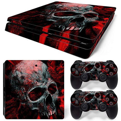 Mcbazel Calcomanías de la Serie de patrón Adhesivo de Piel de Vinilo para PS4 Slim (cráneo Rojo)
