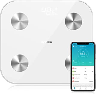 Body Scale, SOFER Bluetooth Body Fat Scale with High Precision Sensors, Smart Wireless BMI Bathroom Weight Digital Scale w...