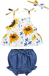 Camidy 0-24M Baby Toddler Girl Suit Strappy Shirt +Shorts with Headband Clothes Set