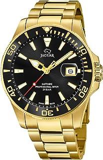 JAGUAR J877/3-Orologio da Uomo della Collezione Executive, Cassa da 43,5 mm, Nero con Cinturino in Acciaio Placcato J877/3
