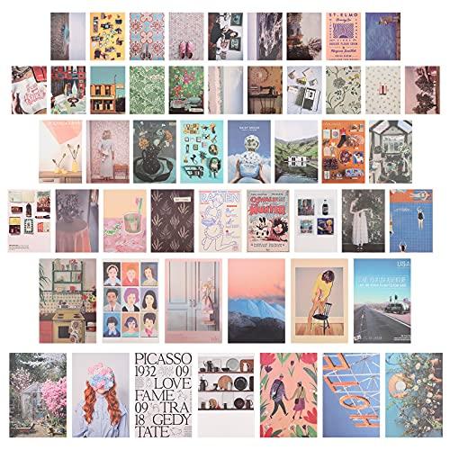 111 Piezas Collages Estéticas de Pared Collage de Fotos con Pintura, decoración de habitación estética para dormitorio para niñas adolescentes, Colecciones de Fotos de Pared de Dormitorio