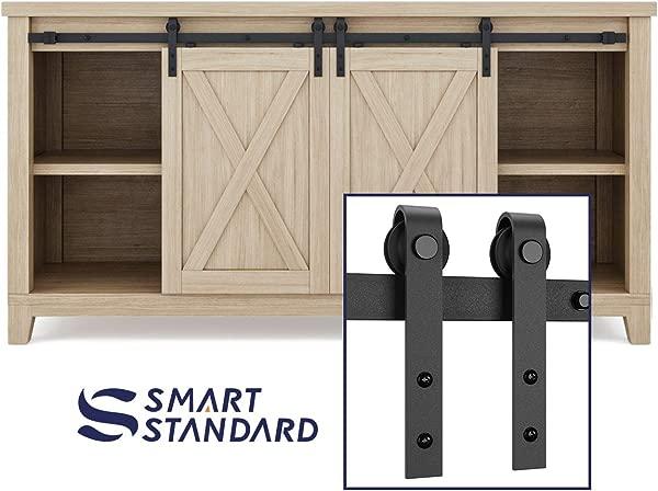 SMARTSTANDARD 5ft Double Cabinet Barn Door Hardware Kit Super Mini Sliding Door Hardware For Cabinet TV Stand Console Simple And Easy To Install Fit 20 Wide Door Panel NO Cabinet J Shape