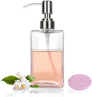 Nozama 16 Oz Clear Glass Soap Dispenser , Hand Soap Dispenser with Rust Proof Stainless Steel Pump for Bathroom Kitchen Hotel Restaurant