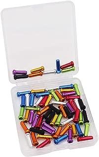 VTurboWay 8 Color 48 PCS, Cable End Crimps, Bike Cable End Caps, Alloy Road Mountain Bikes Brake Tips Shifter, 6 PCS for Each Color of Red Black Golden Silver Green Blue Purple Orange