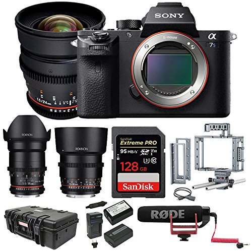 Sony a7S II ILCE7SM2/B E-Mount Mirrorless Camera with Full-Frame Sensor + Rokinon Cine Lens Kit (24mm, 35mm, 85mm)
