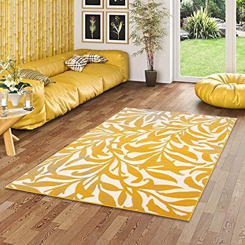 Pergamon Samba - Tapis de Designer Moderne - Fleurs Curry Jaune - 5 Tailles
