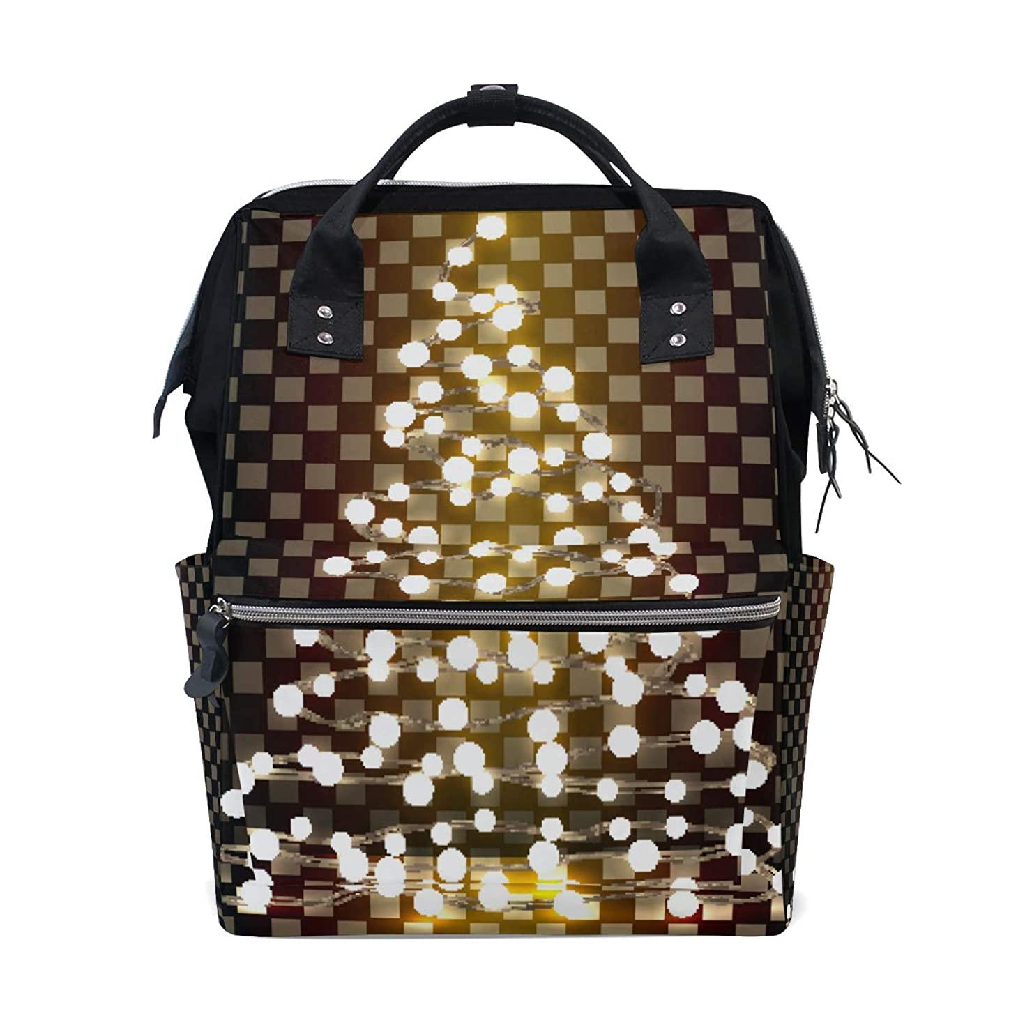School Backpack Lamp Luminous Grid Bag Student Stylish Unisex Laptop Book Bag Rucksack for Teen Boys and Girls