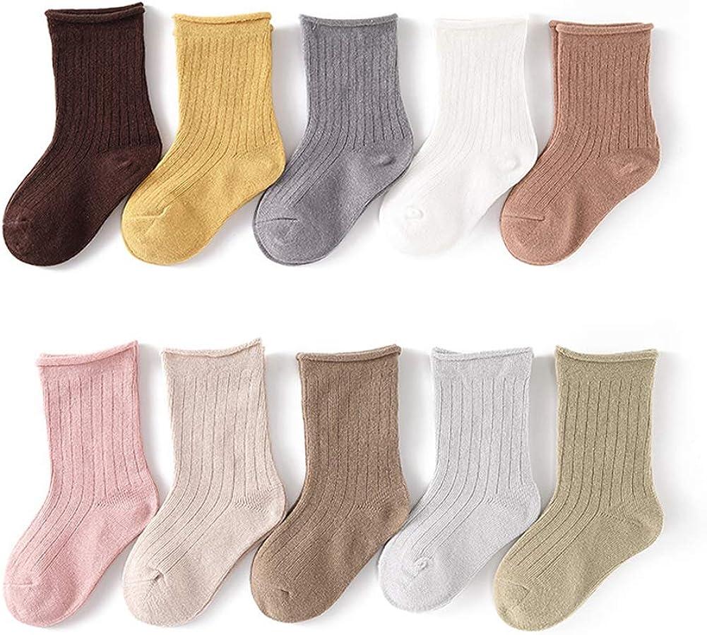 Kids Boys Girls Cotton Crew Socks Athletic Socks Cozy Dress Socks for Unisex Children Baby Kids 3-12 T