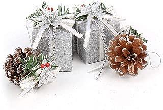 Photinus クリスマス飾り プレゼント オーナメント オシャレ 4個セット 6cm かわいい クリスマス飾り 松ぼっくり (シルバー)