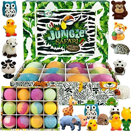 Bath Bombs for Kids with Toys Inside - Set of 12 Organic Bubble Bath Fizzies with Jungle Animal Toys. Gentle and Kids Safe Spa Bath Fizz Balls Kit. Birthday or Christmas Gift for Girls and Boys